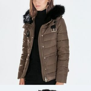 Zara Basic Down Fill Quilted Long Puffer Jacket